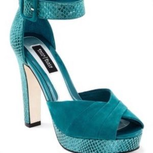 WHBM  teal peep toe leather sandals